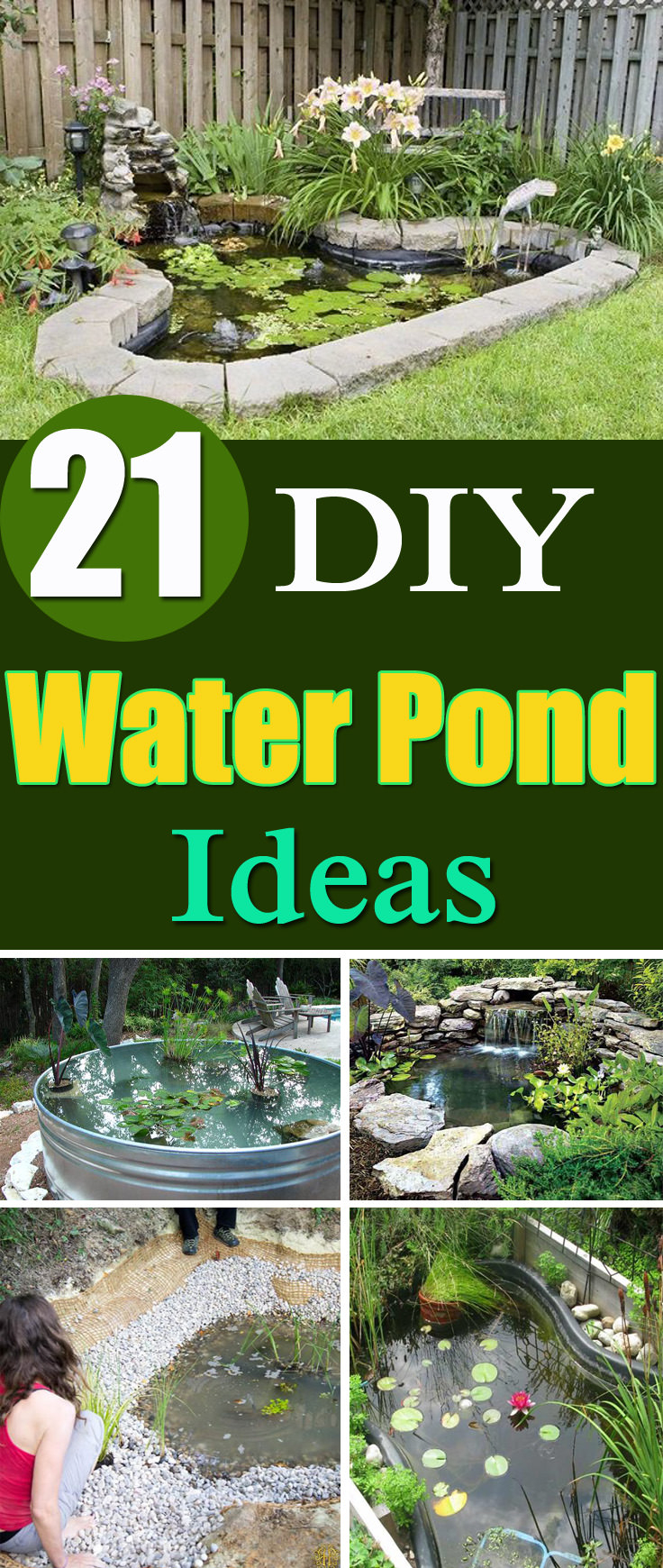 21 Diy Water Pond Ideas Diy Water Gardens For Backyards Balcony for 14 Genius Concepts of How to Upgrade Small Backyard Pond Ideas