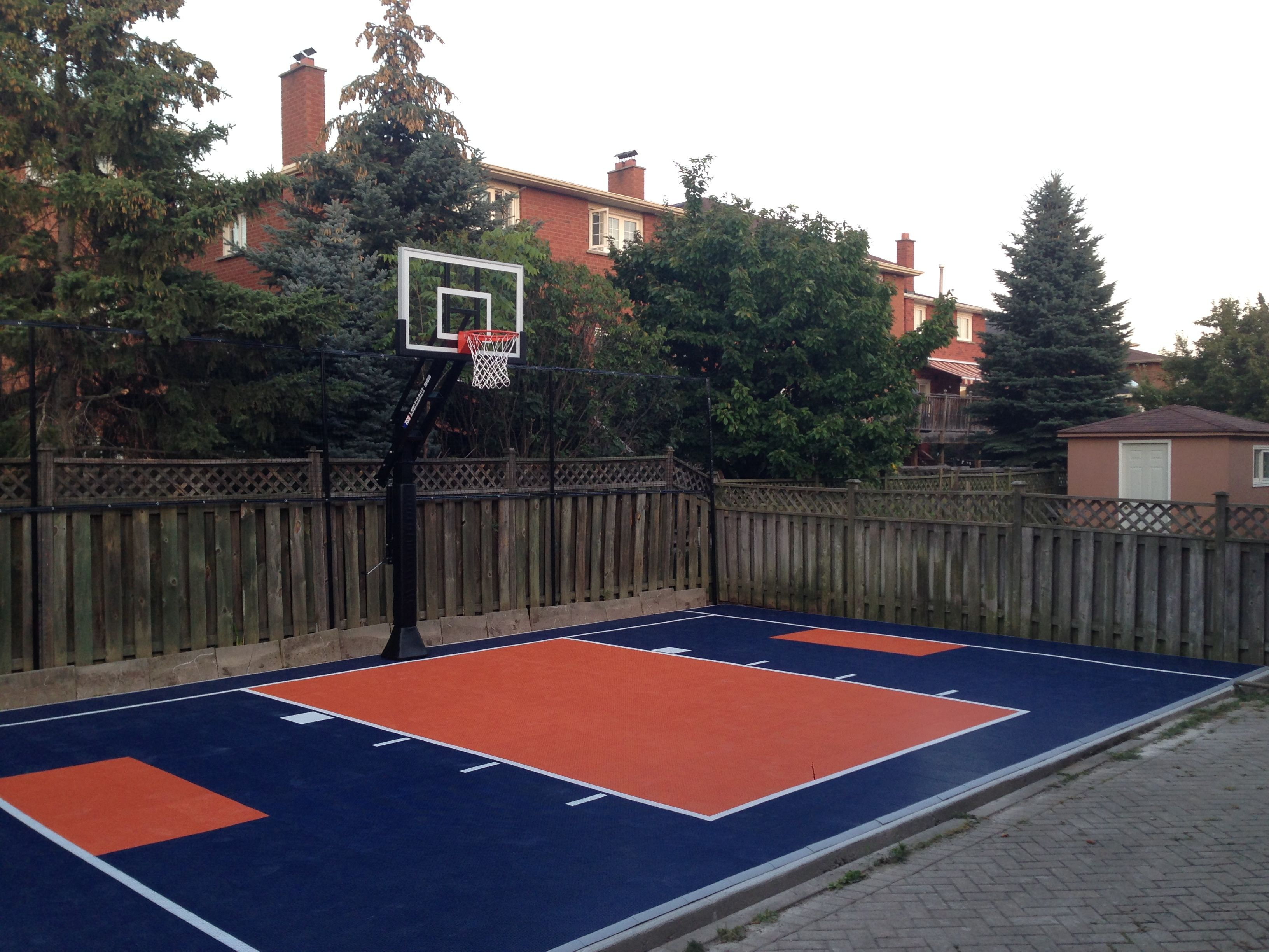 22 X 34 Backyard Court With Snapsports Duracourt Surface Vaughan in 12 Smart Designs of How to Improve Backyard Basketball Court Ideas
