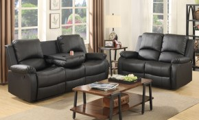 32 Seaters Sofa Set Loveseat Chaise Couch Recliner Black Leather throughout Black Leather Living Room Set