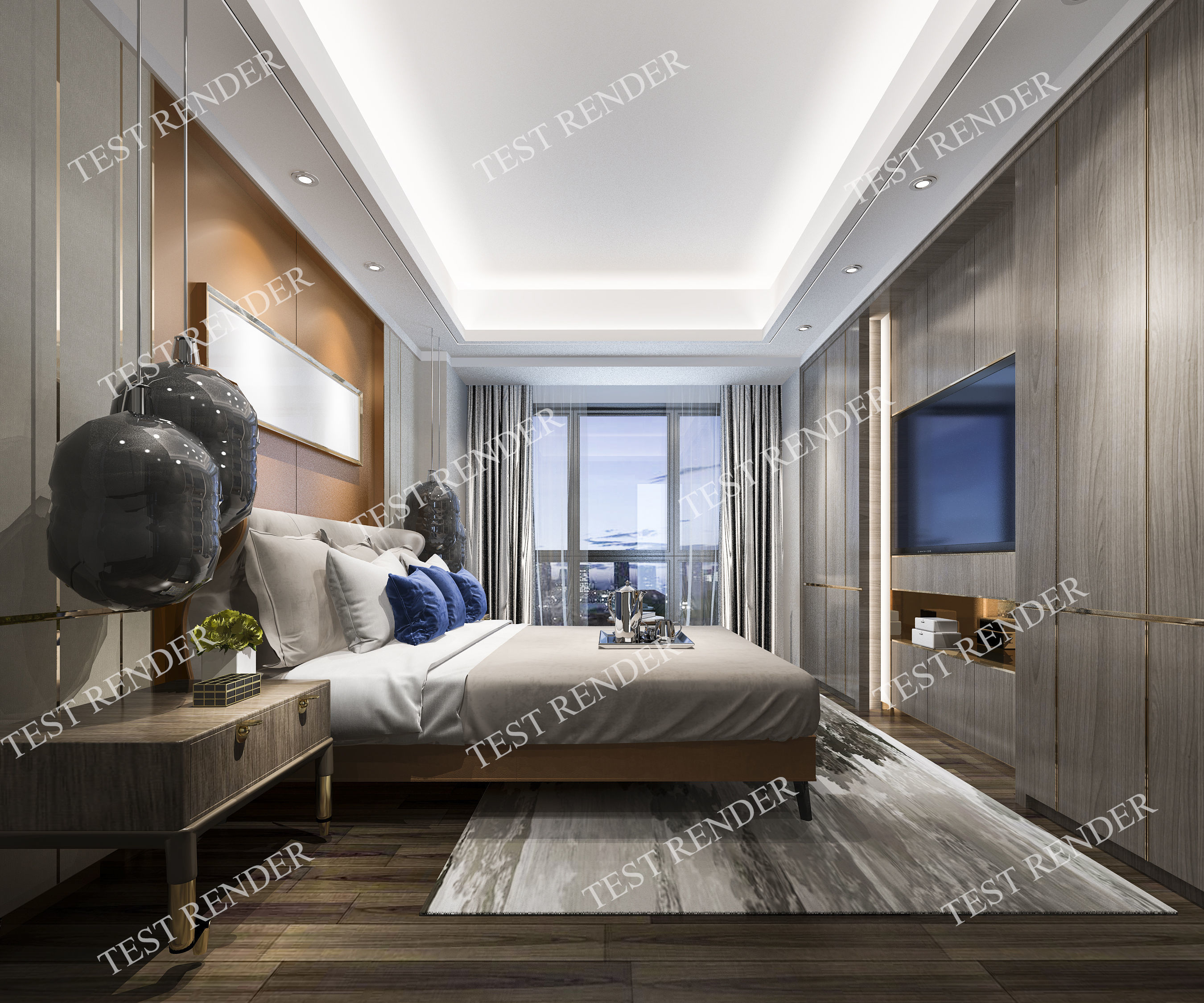 3d Model Luxury Modern Bedroom Suite In Hotel for Modern Bedroom Suite