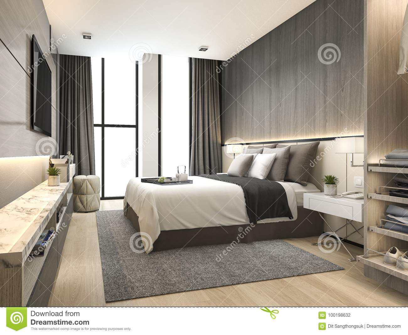 3d Rendering Luxury Modern Bedroom Suite In Hotel With Wardrobe And within Modern Bedroom Suite