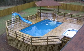 Above Ground Pool Deck Ideas Pools With Decks Npnurseries Home inside Backyard Pool Deck Ideas