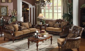 Acme Acme Dreena Traditional Bonded Leather And Chenille Living Room regarding Traditional Leather Living Room Sets