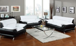 Acme Furniture Orel White Black 3pc Living Room Set The Classy Home for White And Black Living Room Set