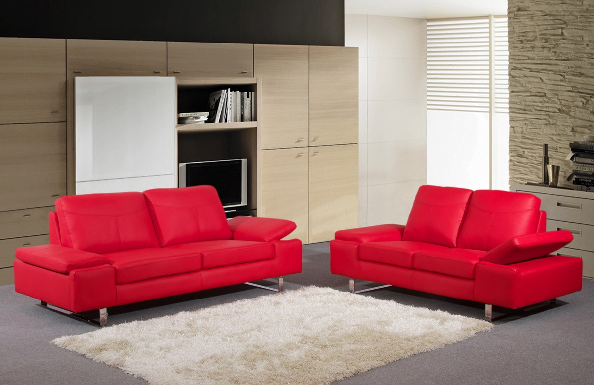 Alisa Red Leather Living Room Set regarding Red Leather Living Room Set