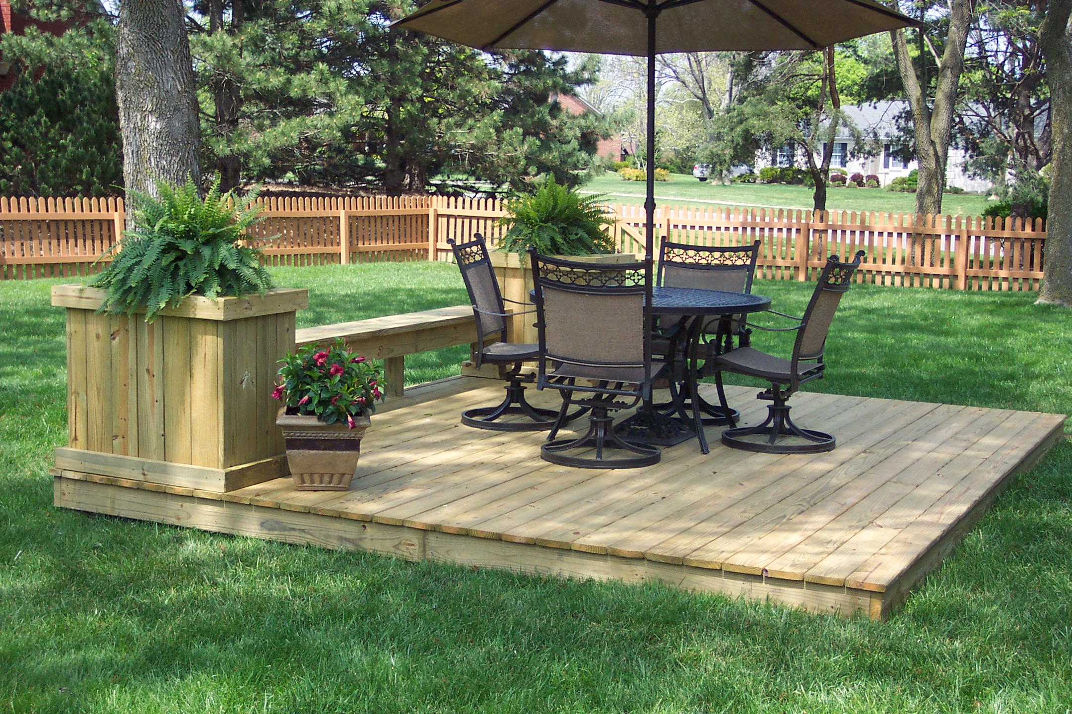 Attractive Ground Level Deck Idea Here A Gorgeous Backyard Landscape with Backyard Ground Ideas