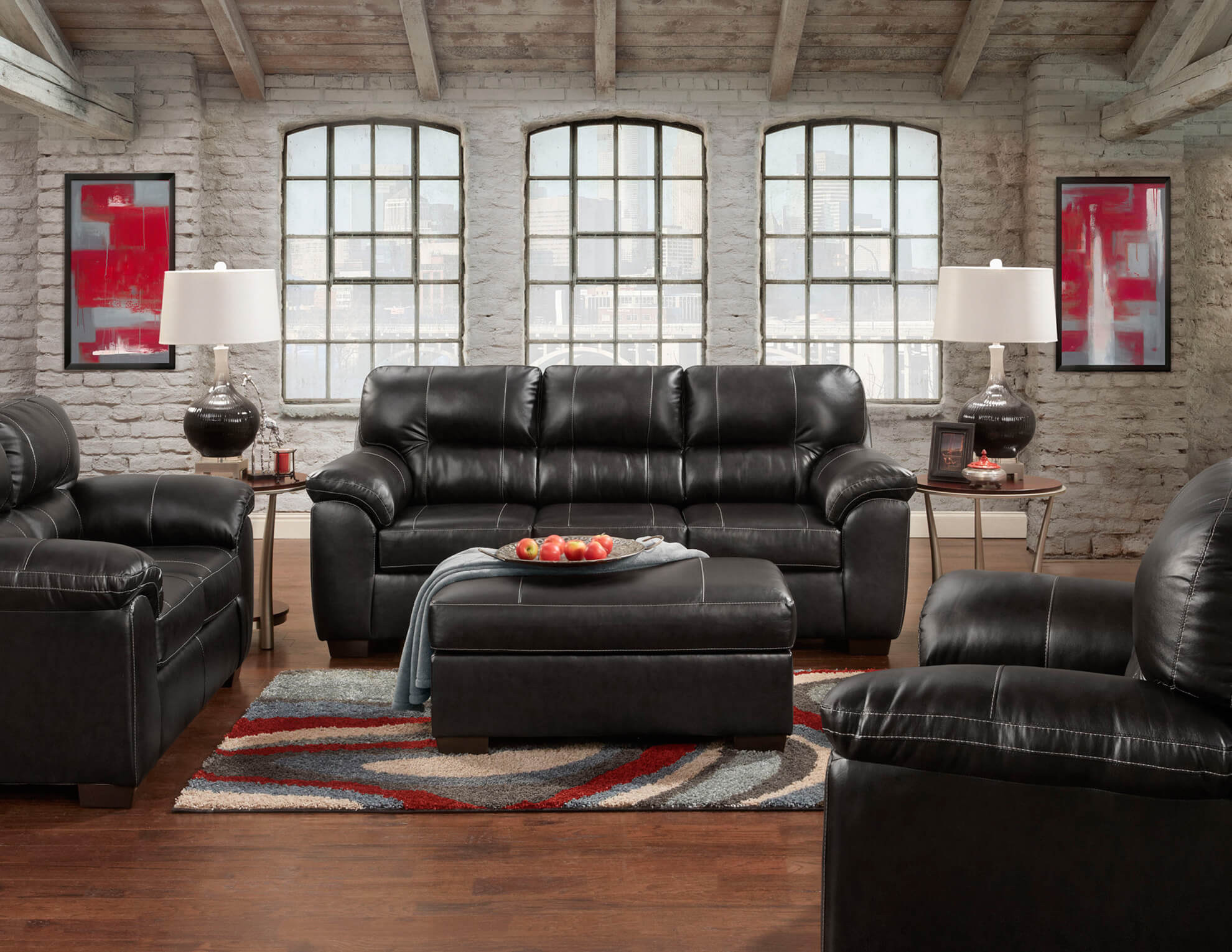 Austin Black Sofa And Loveseat Leather Living Room Sets inside Living Room Sets Leather