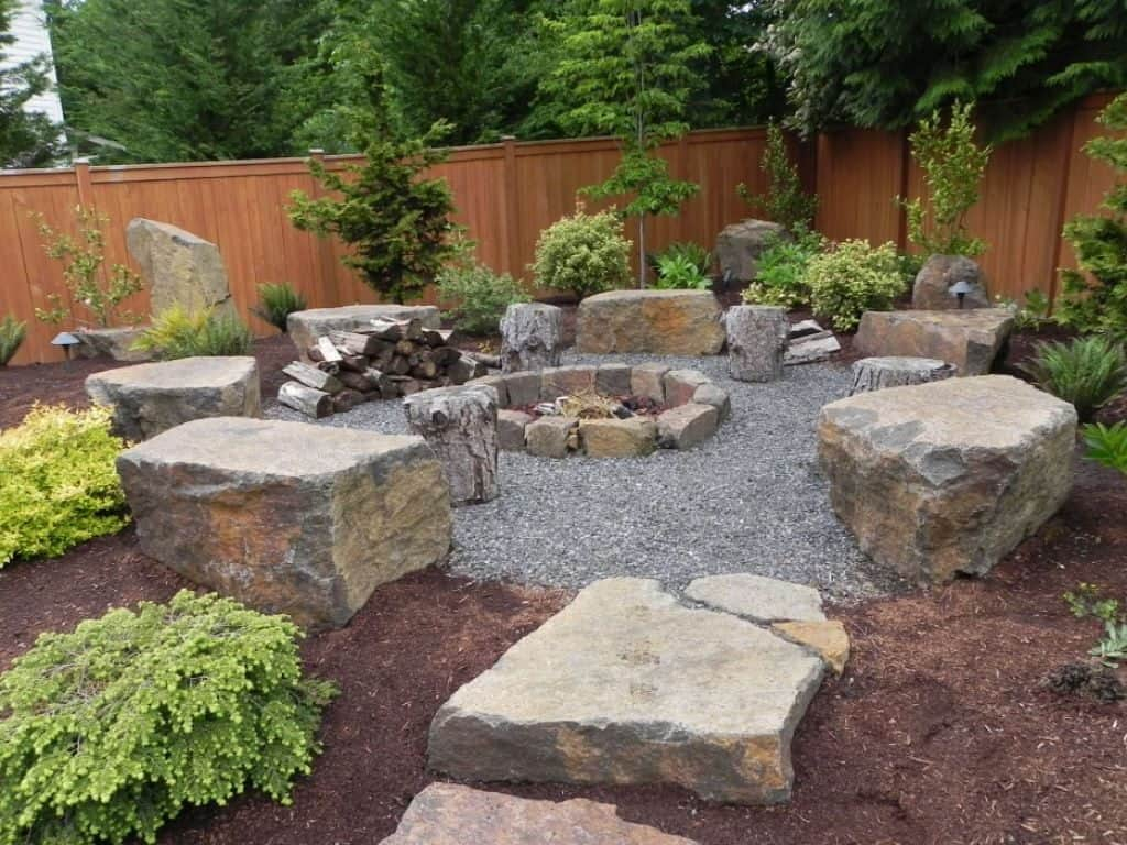 Backyard Landscaping With Stone Fire Pit And Boulders Nice in Backyard Landscaping Ideas With Fire Pit