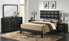 Baxton Studio Carolina 5 Piece King Modern Bedroom Set In Black intended for Black Modern Bedroom Set