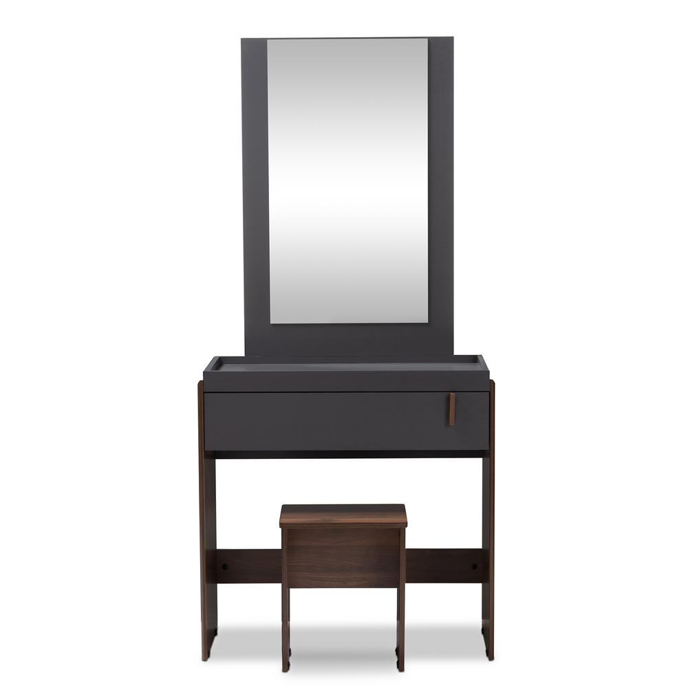 Baxton Studio Rikke 2 Piece Gray And Walnut Bedroom Vanity Set 152 with Bedroom Vanity Modern