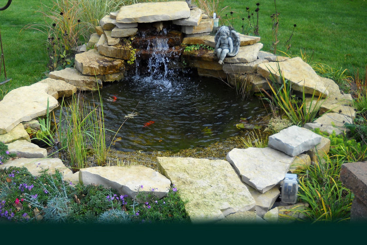 Beautiful Small Backayard Garden Fish Ponds With Stone Waterfall And pertaining to Backyard Pond Ideas With Waterfall
