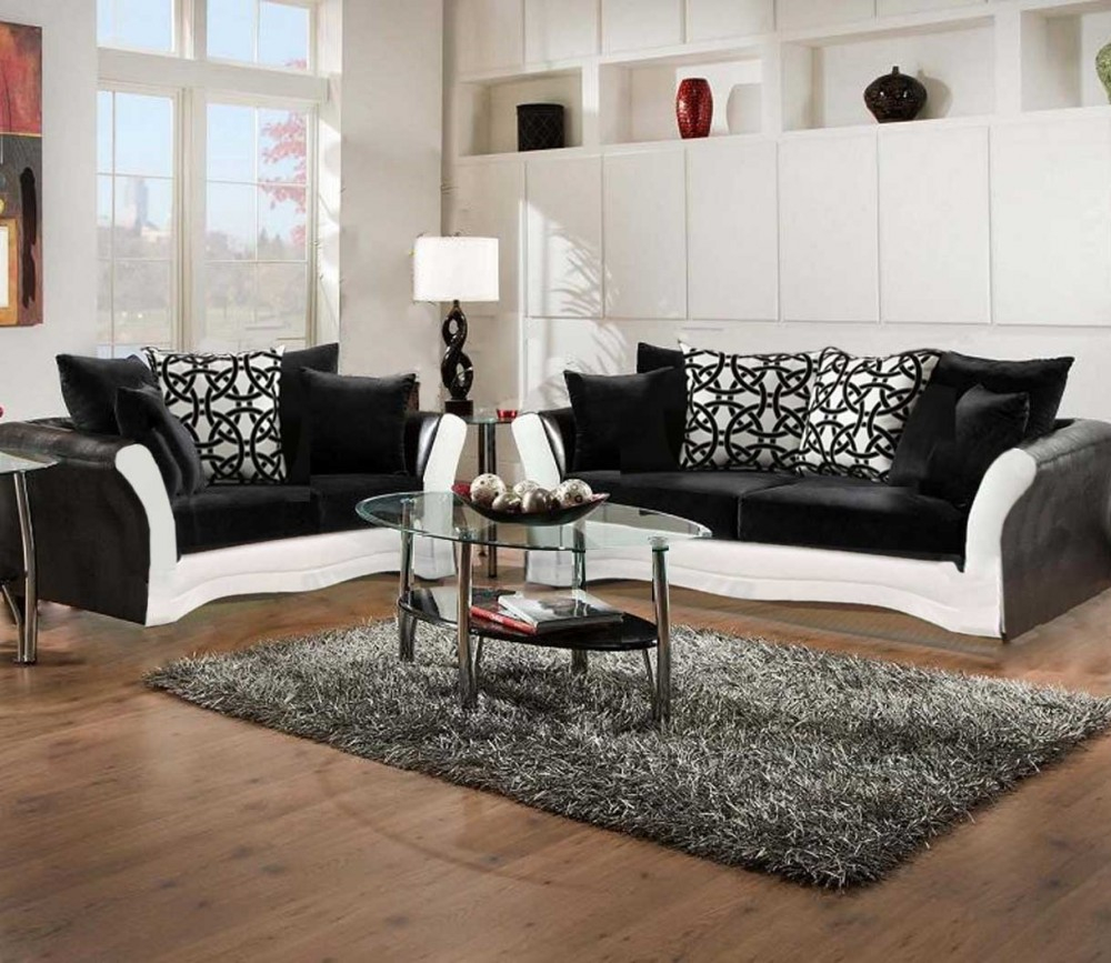 Black And White Sofa And Love Living Room Set 8000 Black And White intended for White Living Room Sets