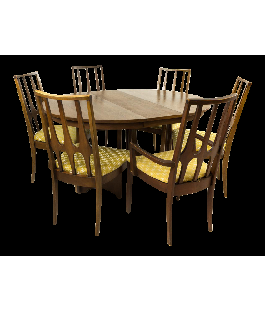 Broyhill Brasilia Round Dining Table Set With 6 Chairs for Broyhill Living Room Set