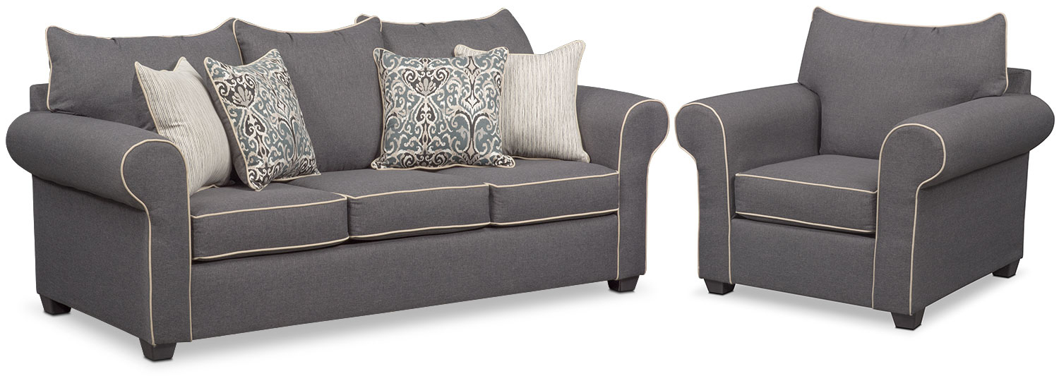 Carla Queen Sleeper Sofa And Chair Set Value City Furniture And with Chair Set Living Room