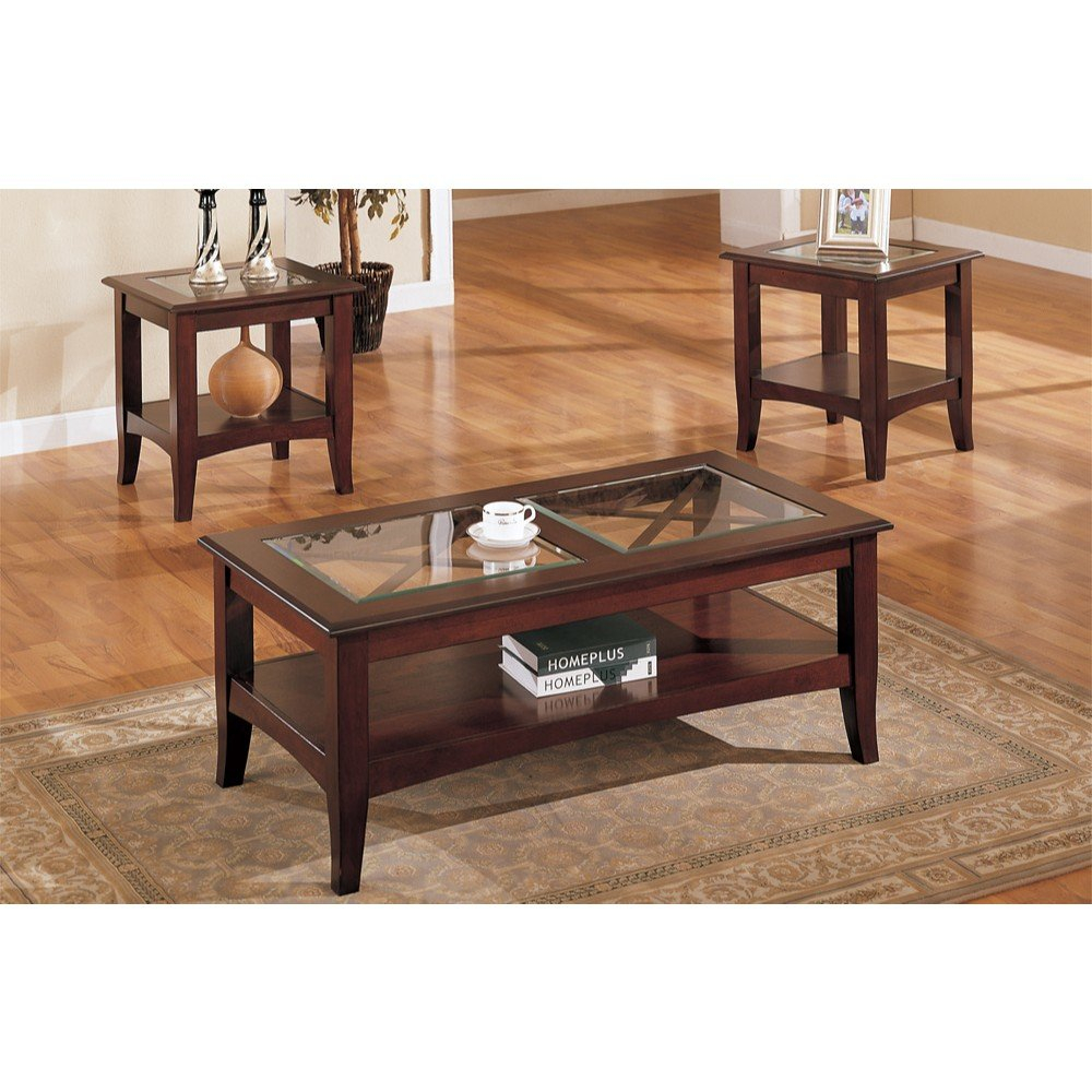 Charlton Home Holte Wooden 3 Piece Coffee Table Set With Glass Top pertaining to 15 Genius Ways How to Make 4 Piece Living Room Table Set