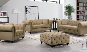 Chesterfield Living Room Set Sand Meridian Furniture Furniture Cart regarding Chesterfield Living Room Set