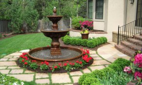 Classic Shaped Landscape Fountain Design Ideas within Backyard Fountain Ideas