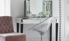 Clear Acrylic Makeup Vanity Chair With Chrome Base Modern Bedroom intended for Bedroom Vanity Modern