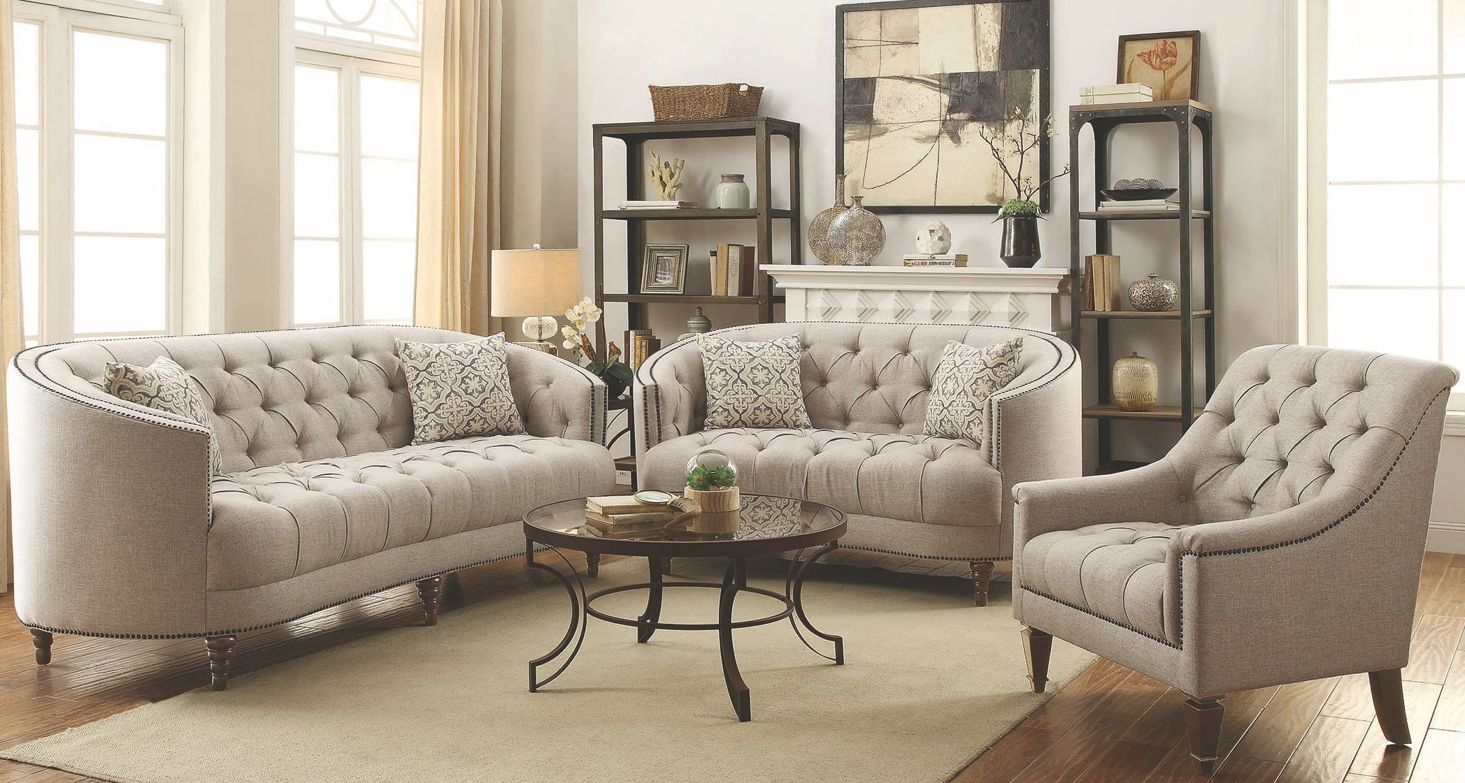 Coaster Avonlea Stone Grey Living Room Set Avonlea Collection 15 in Living Room Set