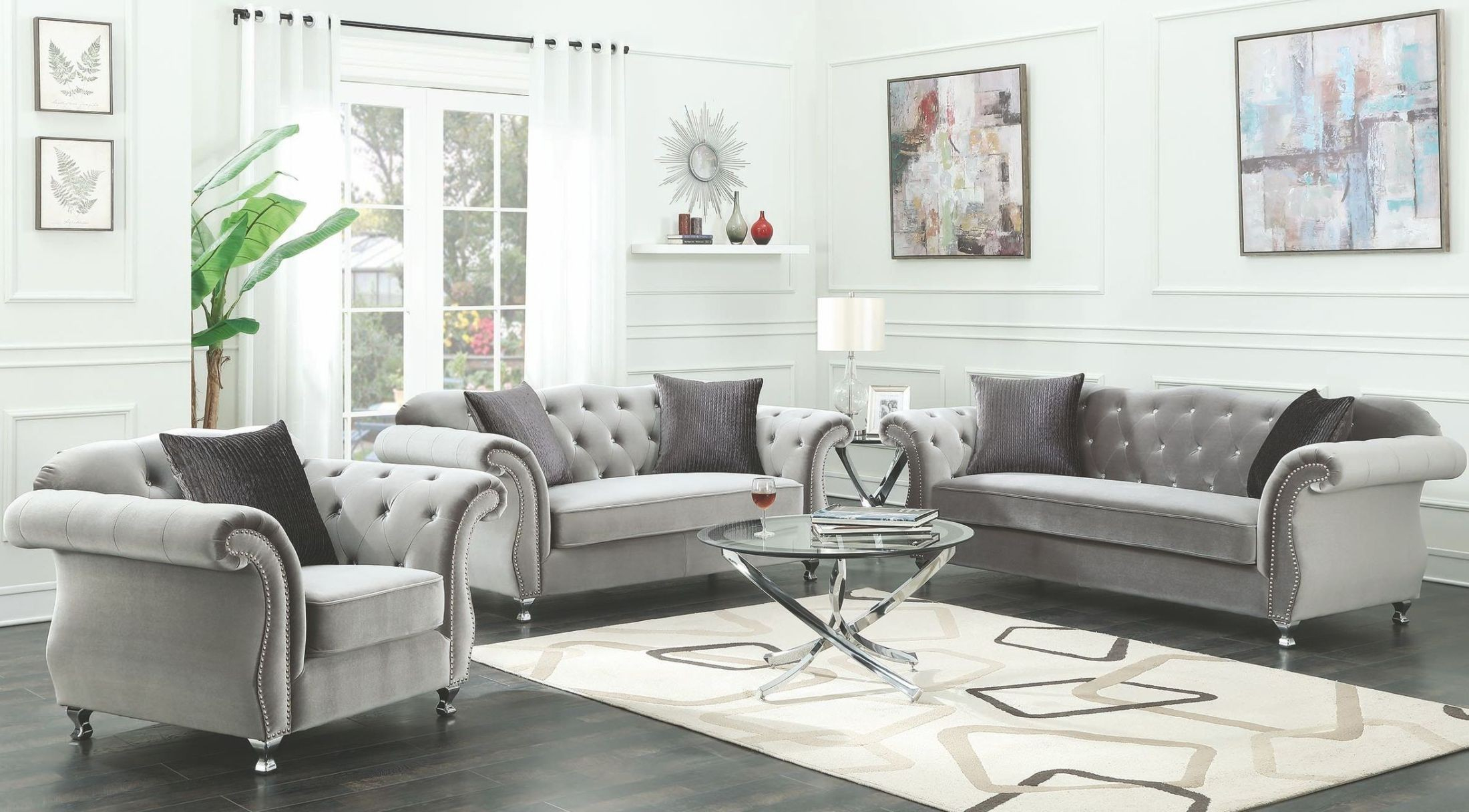 Coaster Frostine Silver Living Room Set Frostine Collection 13 with regard to Free Living Room Set