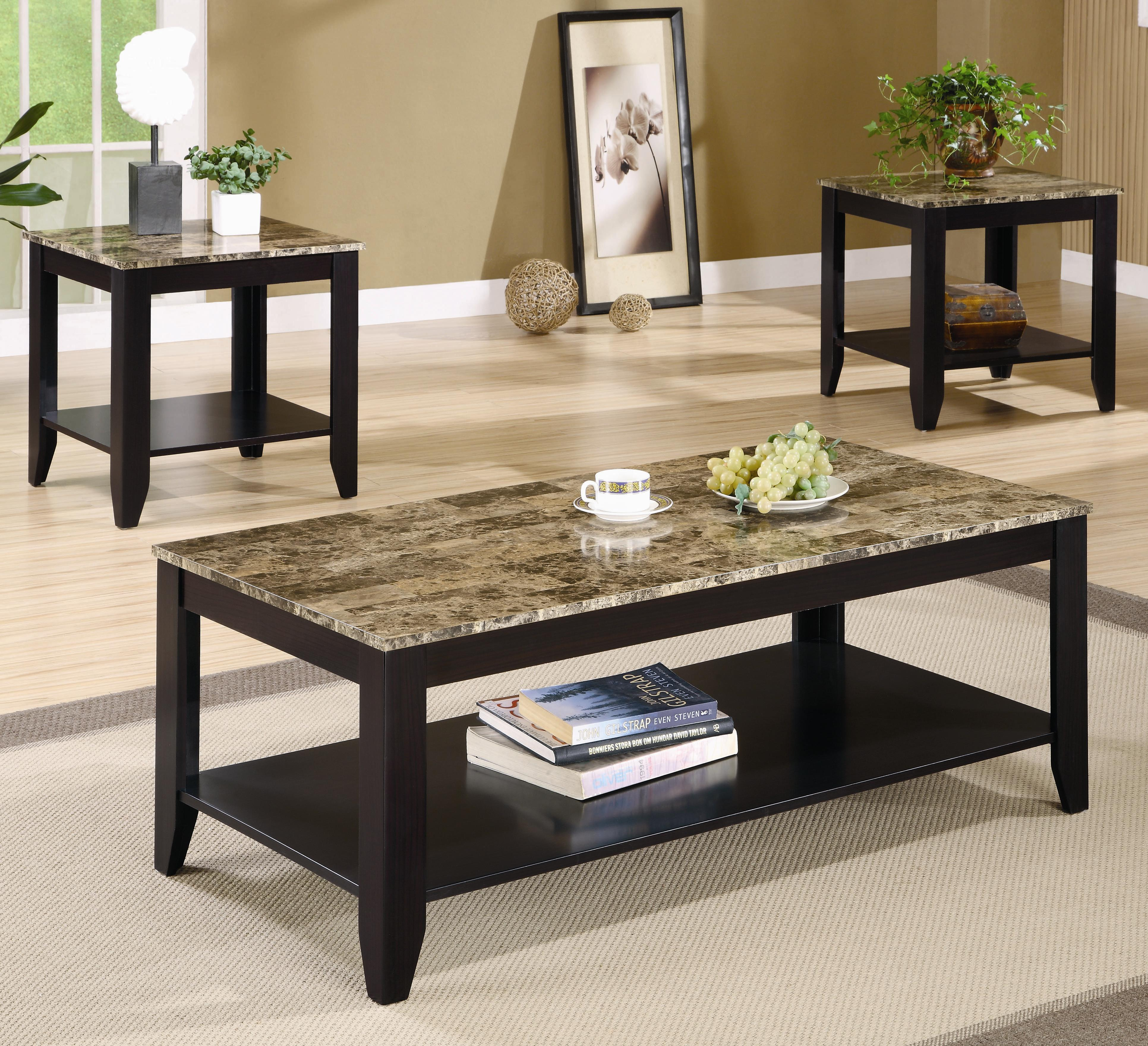Coaster Occasional Table Sets 700155 3 Piece Occasional Table Set throughout Living Room Table Set