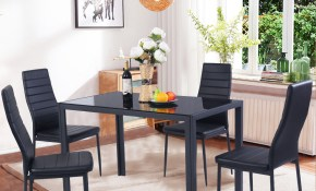 Costway 5 Piece Kitchen Dining Set Glass Metal Table And 4 Chairs with 11 Some of the Coolest Designs of How to Improve Living Room Table Set