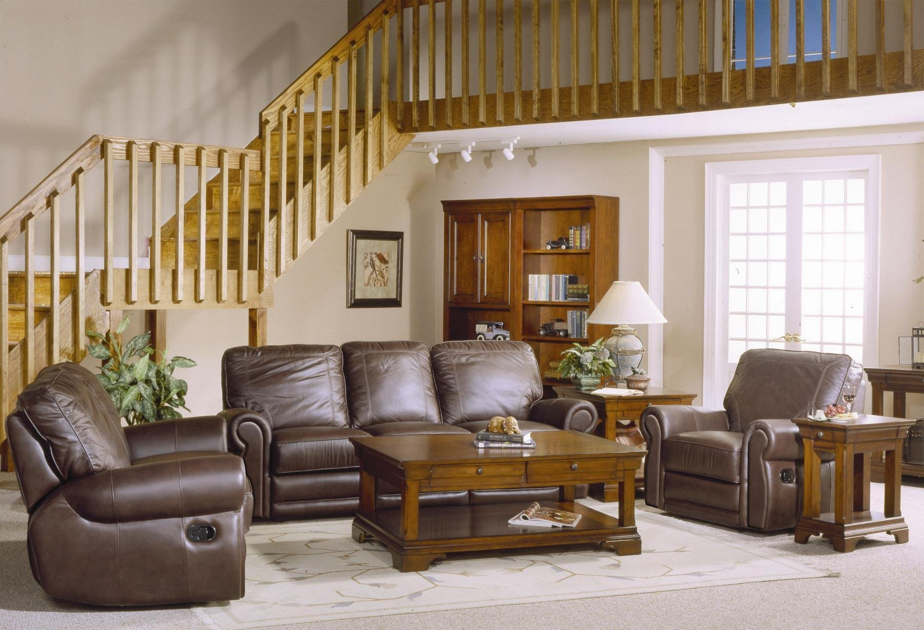 Country Style Brown Leather Sofa Set With Sofa Loveseat And Chair with regard to Country Style Living Room Sets