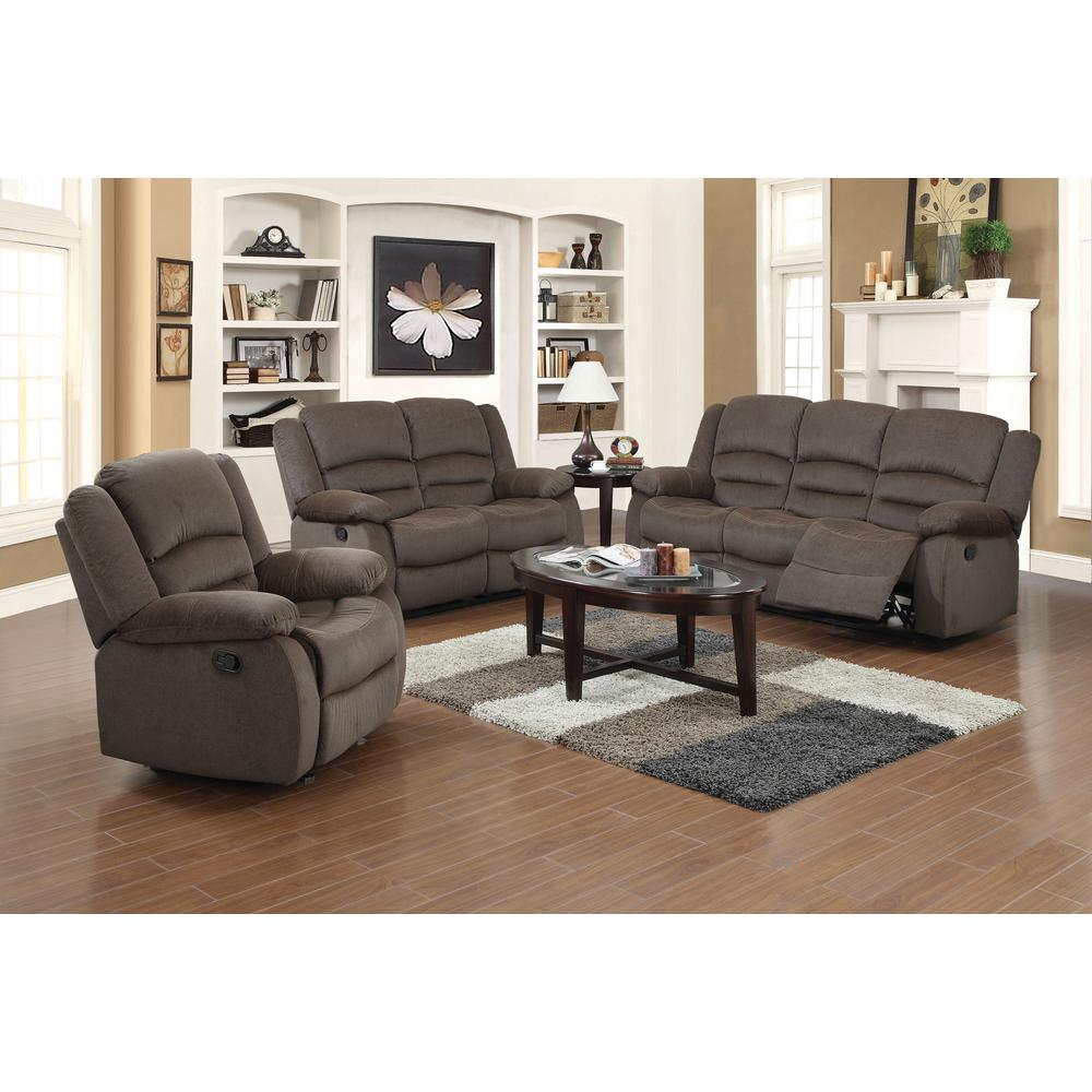 Ellis Contemporary Microfiber 3 Piece Dark Brown Living Room Set with 3 Piece Leather Reclining Living Room Set