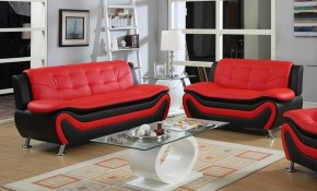 Frady 2 Pc Black And Red Faux Leather Modern Living Room Sofa And within 11 Some of the Coolest Initiatives of How to Improve Red Leather Living Room Set