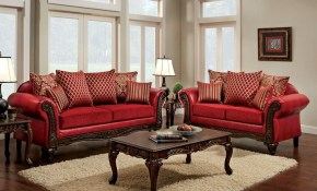 Furniture Of America Cardinal Formal Traditional Red Leather Sofa for Living Room Sets Free Shipping