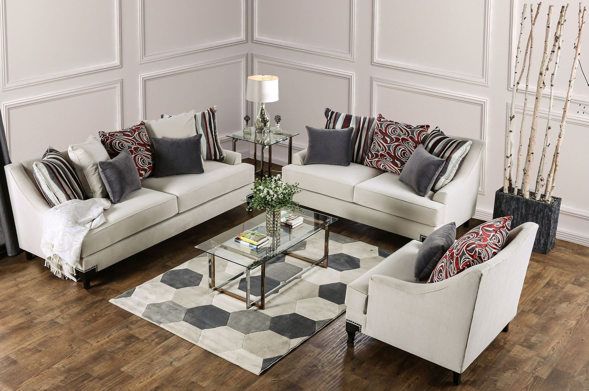 Furniture Of America Viscontti Ivory Upholstered Living Room Set regarding Upholstered Living Room Sets