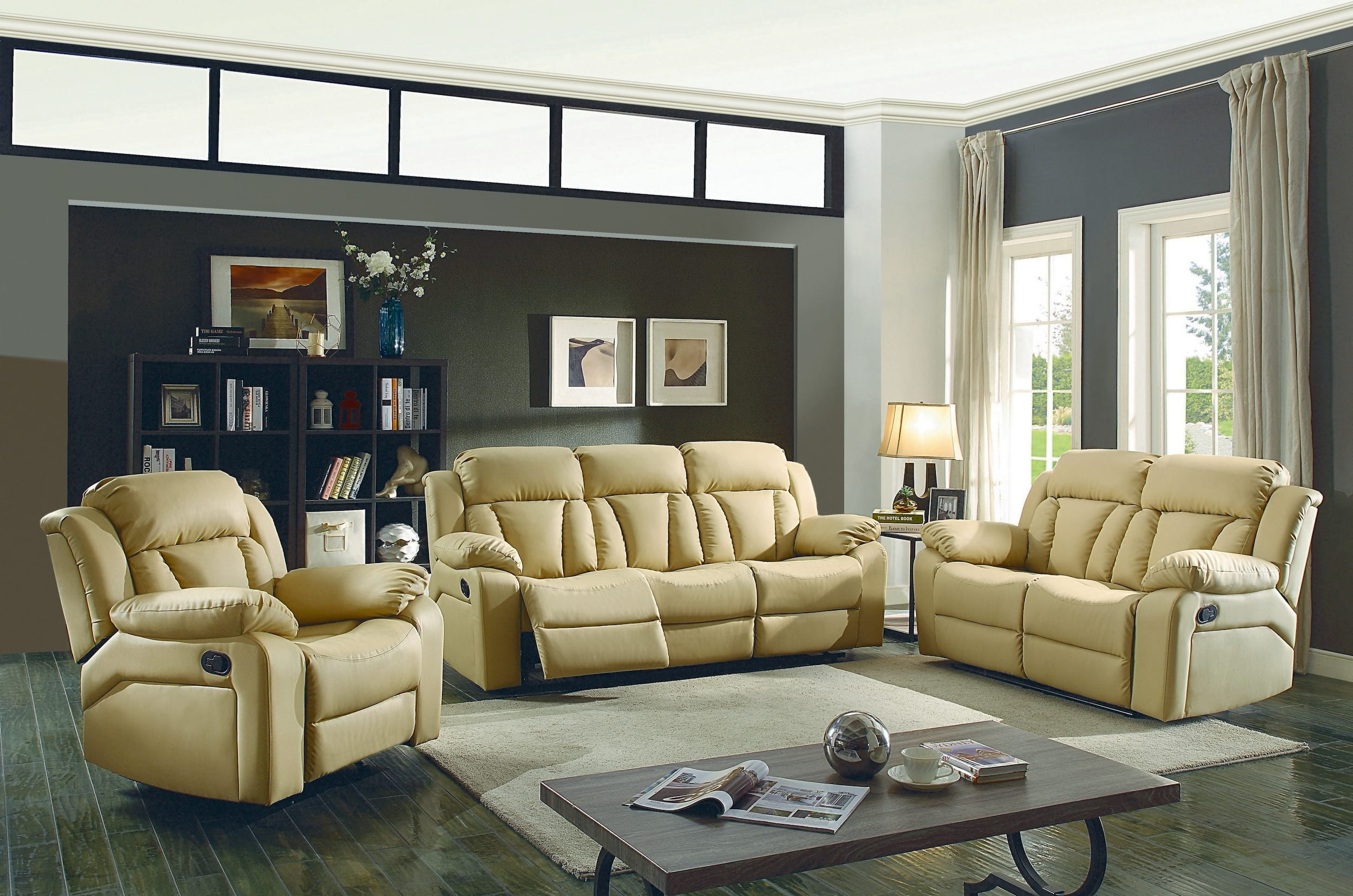 Glory Springfield Beige Faux Leather Reclining 3 Piece Living Room with regard to 13 Awesome Ways How to Improve 3 Piece Leather Reclining Living Room Set