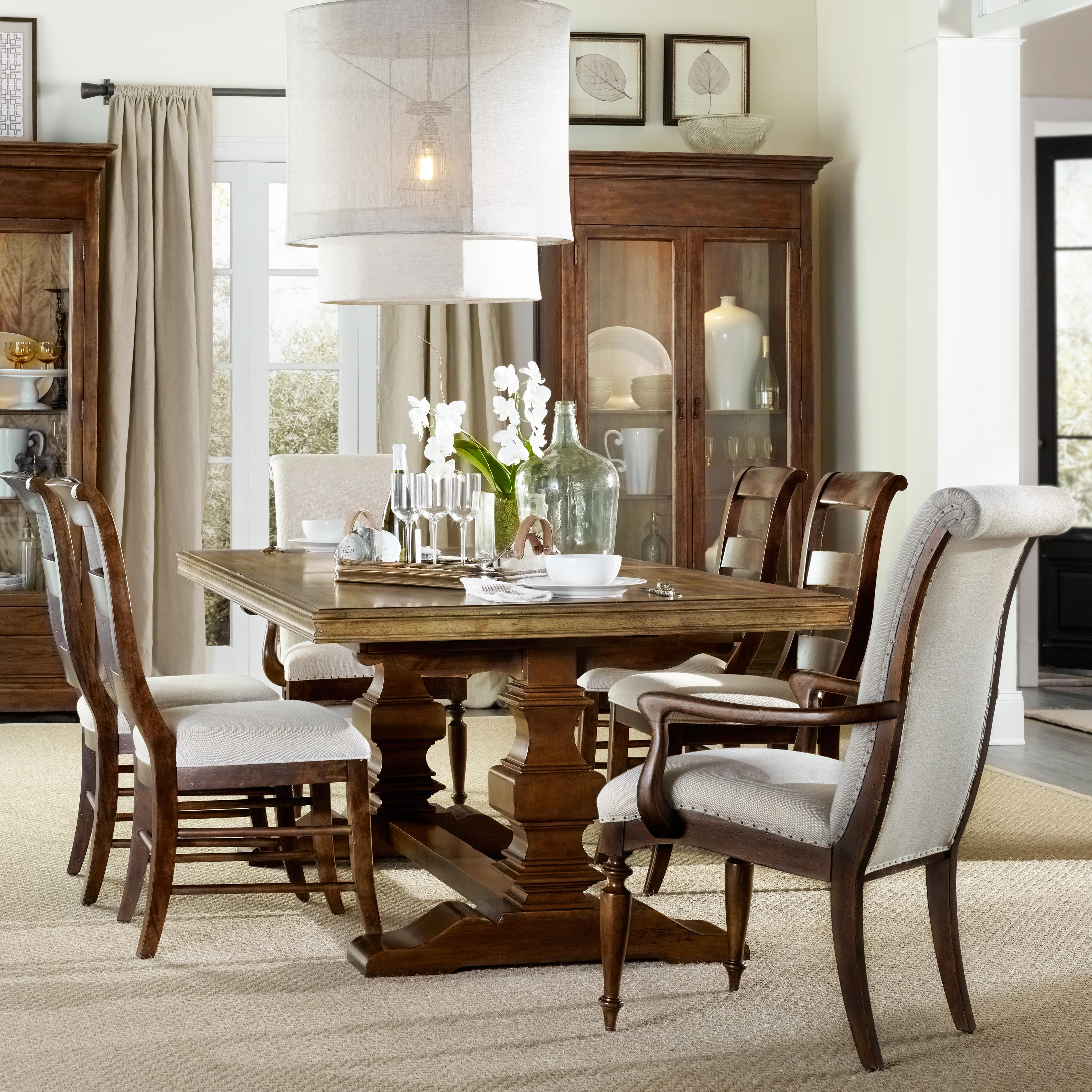 Hooker Furniture Archivist 7 Piece Dining Set With Trestle Table intended for 7 Piece Living Room Sets