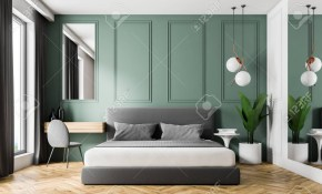 Interior Of Modern Bedroom With Green Walls Wooden Floor Gray in Gray Modern Bedroom
