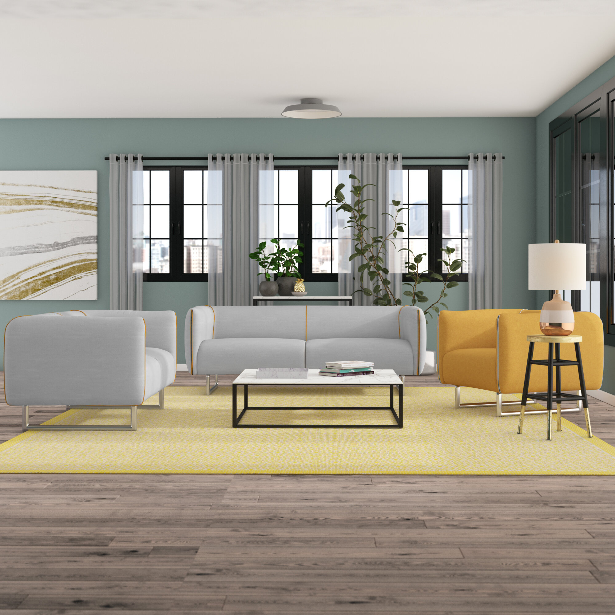 Ivy Bronx Alivia 3 Piece Living Room Set Reviews Wayfair intended for 15 Awesome Initiatives of How to Craft Yellow Living Room Set