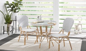 Juliette White 3 Pc Outdoor Dining Set Outdoor Dining Sets Wicker in Outdoor Living Room Sets