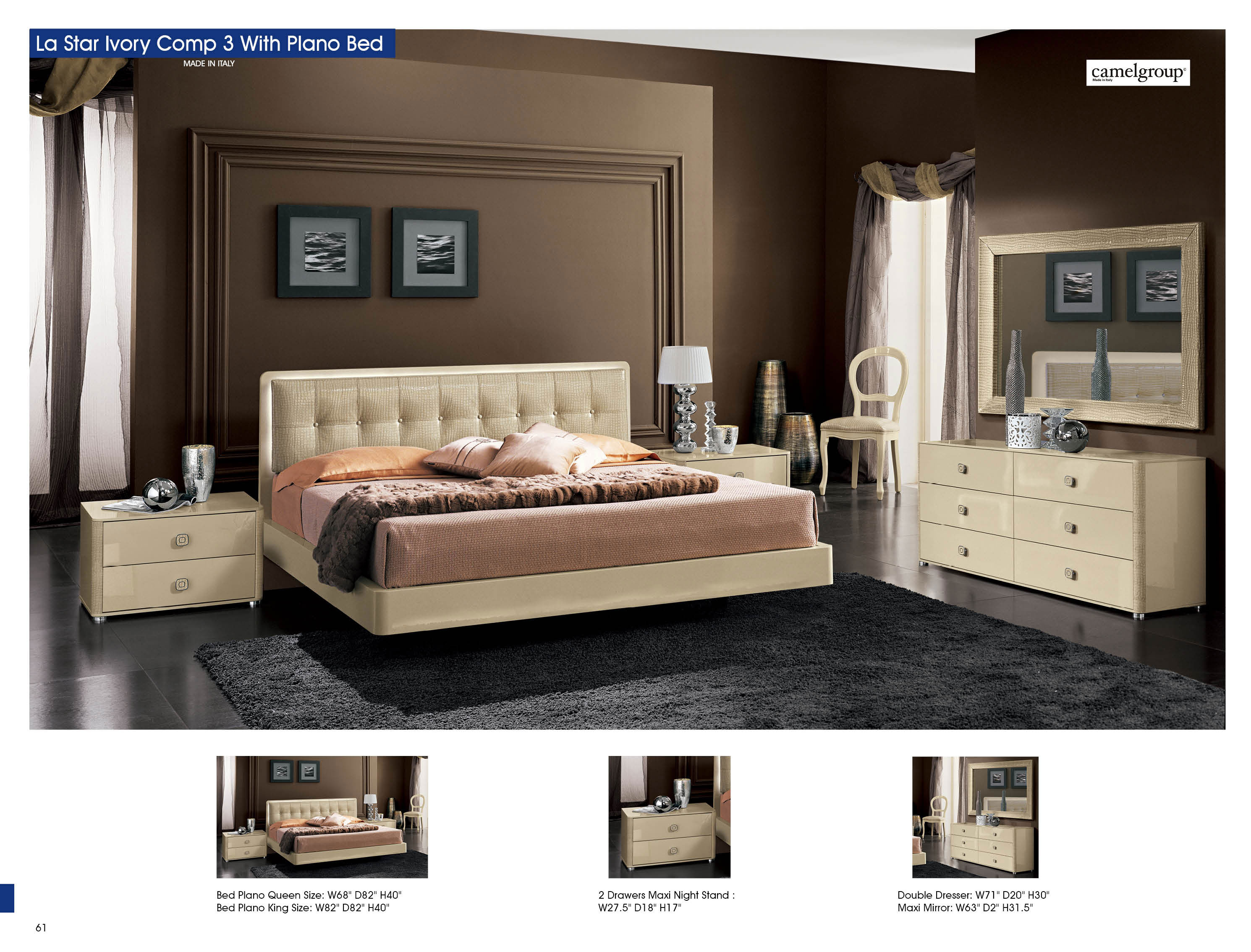 La Star Beige Comp 3 Wplano Bed Camelgroup Italy Modern Bedrooms throughout Italian Modern Bedrooms