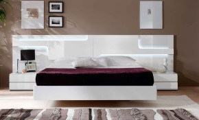 Lacquered Made In Spain Wood Platform And Headboard Bed With Extra within 14 Awesome Ways How to Upgrade Modern Bedroom Headboards