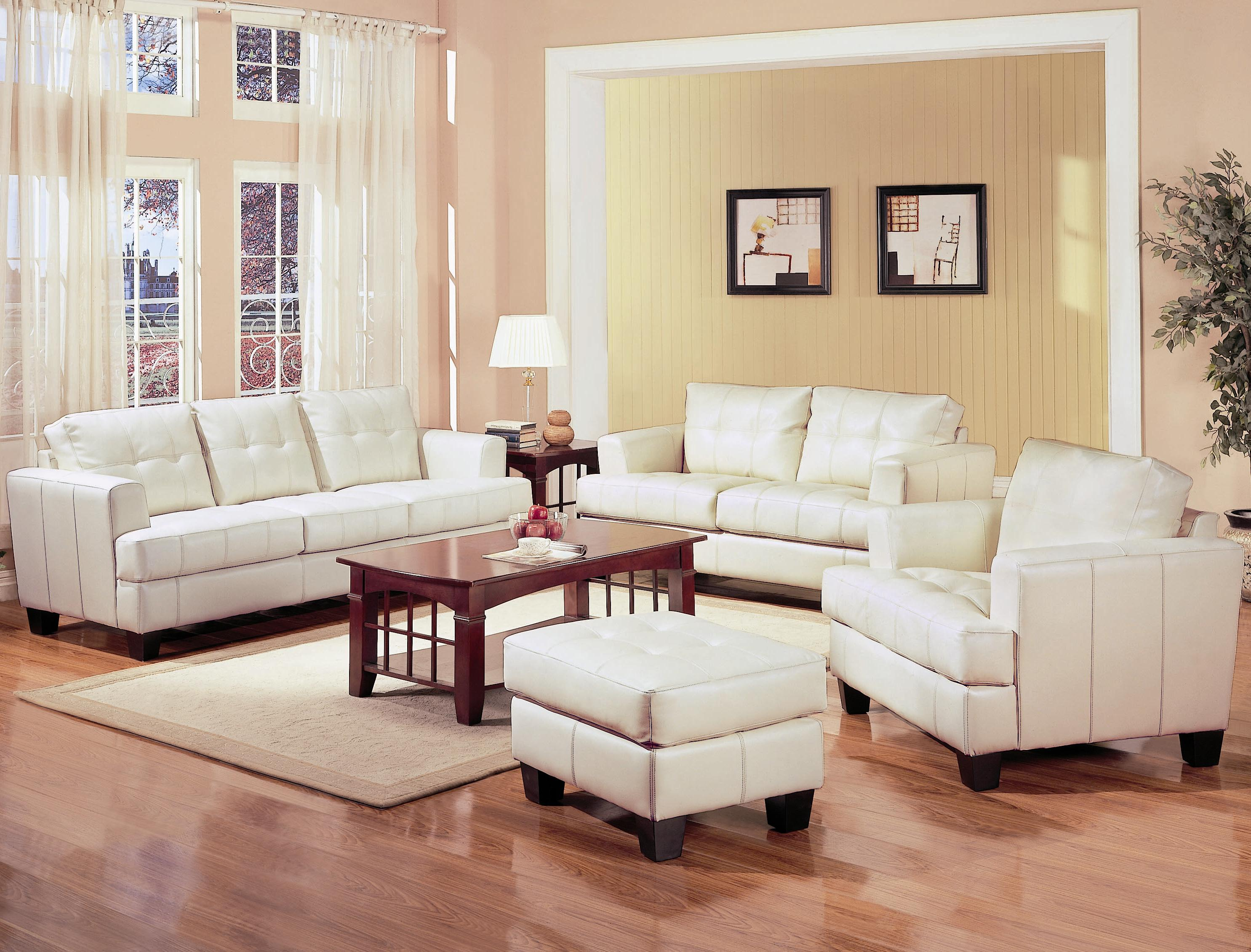Leather Sofas Co 501691 for Beige Leather Living Room Set