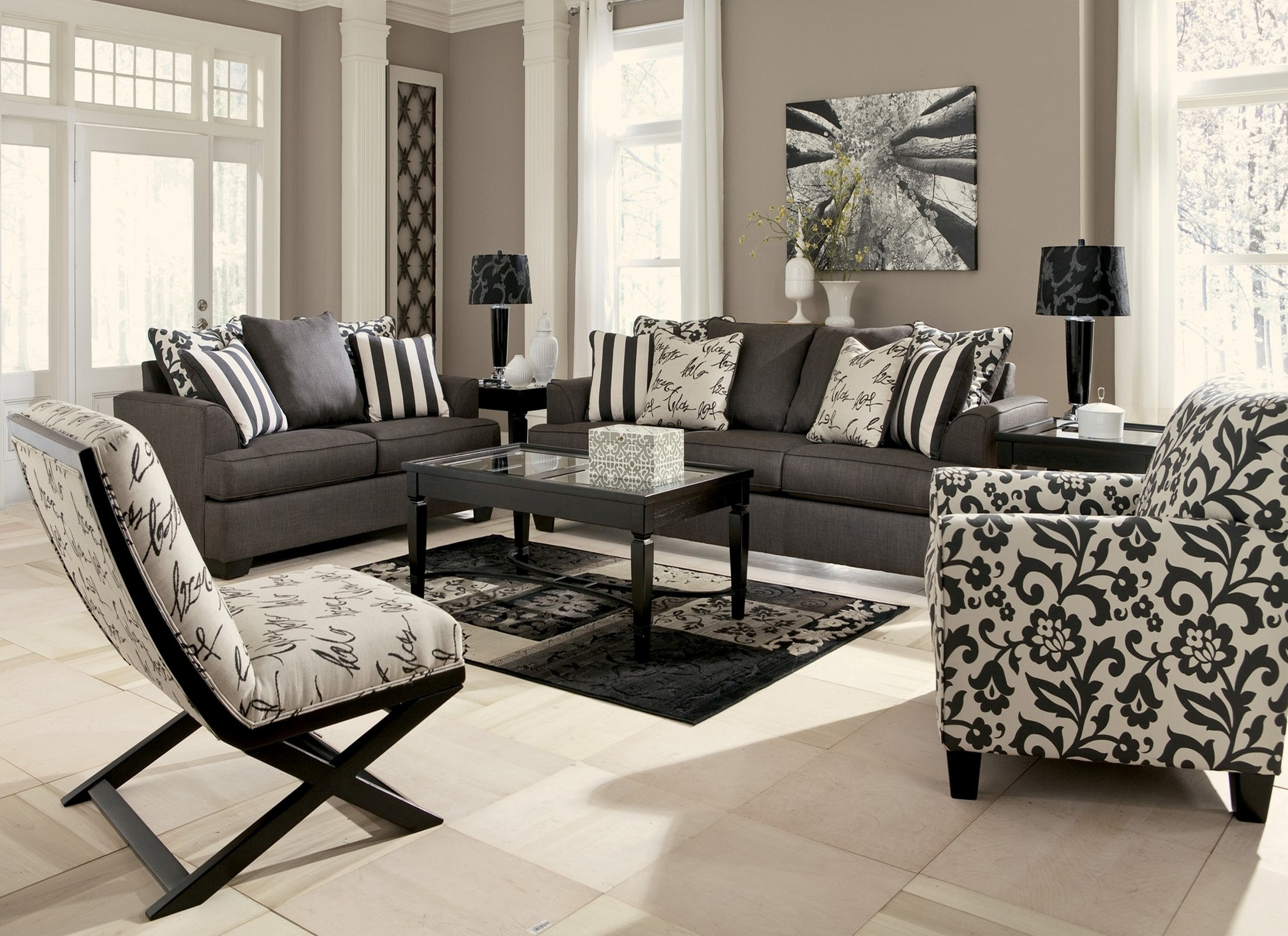 Levon Charcoal Living Room Set From Ashley 73403 Coleman Furniture pertaining to Living Room Sets