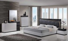 Lexi Modern King Size Sgr Silver Grey Led Light Bedroom Set 5pc within Modern King Size Bedroom Set