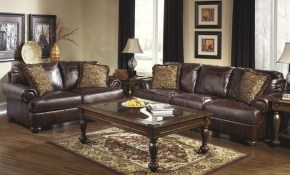 Living Room Set 2pcs Genuine Leather Walnut Casual Style Ashley with regard to 14 Awesome Tricks of How to Upgrade Genuine Leather Living Room Sets