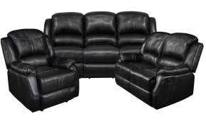Lorraine Black Bonded Leather Recliner 3 Piece Living Room Set Slc for 3 Piece Black Leather Living Room Set