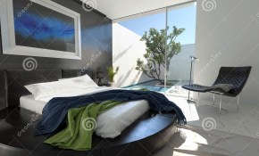 Luxury Leather Bed In A Modern Bedroom Stock Illustration pertaining to 12 Genius Initiatives of How to Craft Modern Bedroom Black