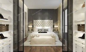Luxury Modern Bedroom Suite With Wardrobe And Walk In 3d pertaining to 14 Clever Tricks of How to Makeover Modern Bedroom Closet