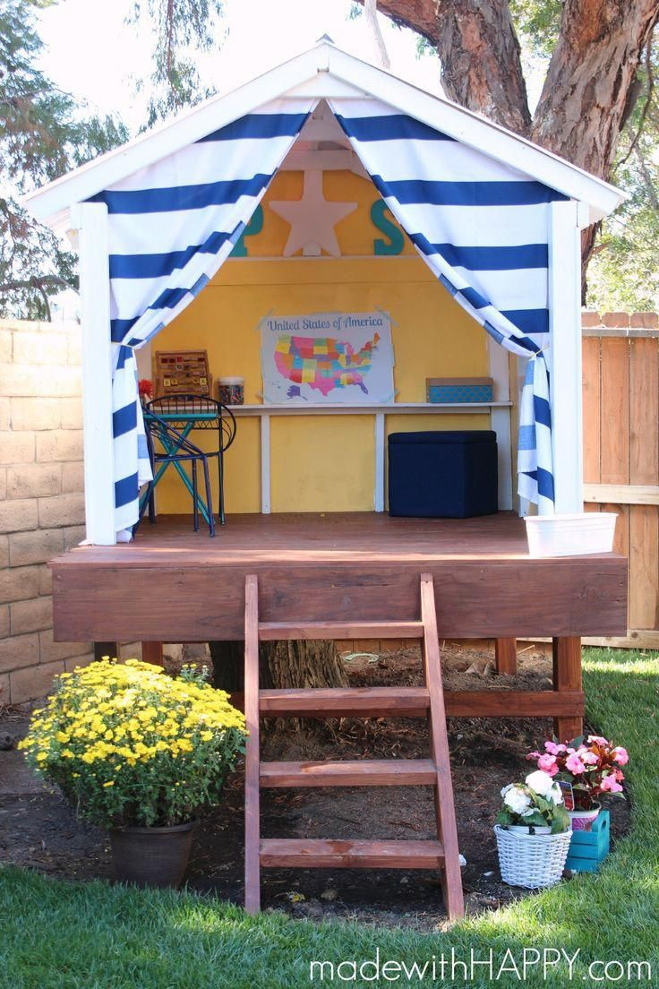 Made With Happy Treehouse Playhouse Diy within Backyard Playhouse Ideas