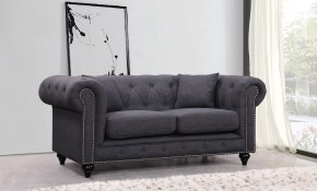 Meridian Meridian Chesterfield 2 Piece Living Room Set In Grey intended for Chesterfield Living Room Set