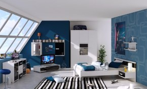 Mesmerizing Modern Teenage Boys Bedroom With Tv Set On Attic Room pertaining to 15 Awesome Tricks of How to Improve Modern Teen Boy Bedroom