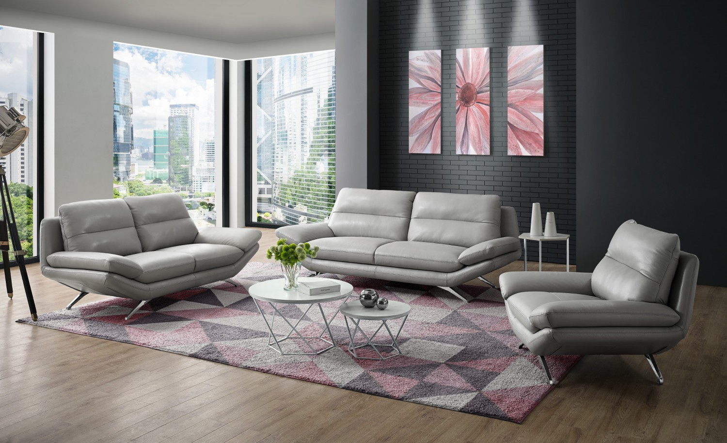 Milo Modern Living Room Set In Light Grey Leather Creative Furniture intended for 14 Genius Tricks of How to Build Modern Leather Living Room Set