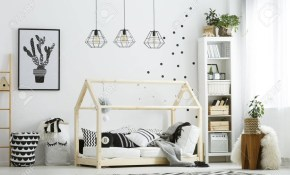 Modern Ba Bedroom In White With Bed Bookcase And Carpet Stock inside Modern Baby Bedroom